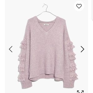 MADEWELL Lilac Fringe Sleeve Pullover Sweater